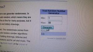 The Random Generator pick!
