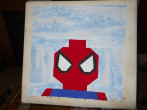 Lego Spiderman pattern from Kristy at Quiet Play (I still need to embroider some lines.)
