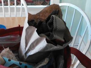 My paper bag of scraps!