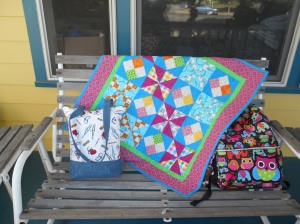 Nurses tote and charity quilt.