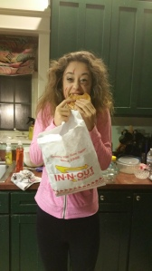 "Bringing the all-important ""In-N-Out"" care package back for our volunteer ""scarer."" She was one happy haunter!"
