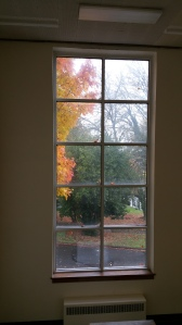 Fall color outside one of our school windows...I love the way some leaves are pasted on the glass.