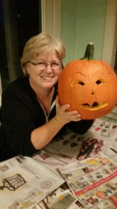 "Me with my ""Grumpy Pumpkin."""